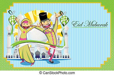 eid, mubarak, grüßen karte
