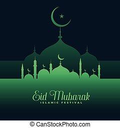 eid mubarak green mosque background design