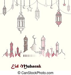 Eid mubarak greeting background for the Muslim holiday. Vector.