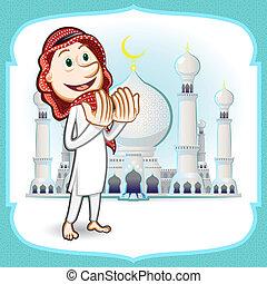 Moslem Islam Eid Mubarak Celebration Day Greeting Card