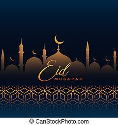 eid mubarak greeting with mosque silhouette and islamic pattern