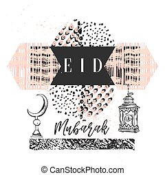 Eid Mubarak handwritten lettering. Vector calligraphy with mosque isolated on white background for your design