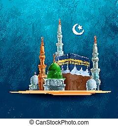 Eid Mubarak (Happy Eid) background with Kaaba - illustration...