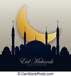 eid mubarak illustration with mosque silhouette and golden...