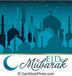 Eid Mubarak (Blessed Eid) mosque card in vector format.