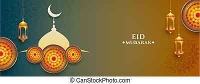 eid mubarak islamic decorative banner design