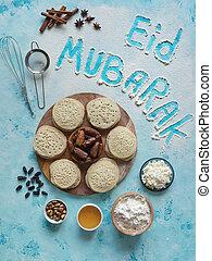 eid, mubarak, islamisch, feiertag, arabisches , speise hintergrund