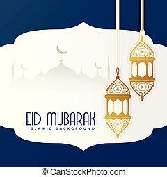 eid mubarak lovely greeting card design