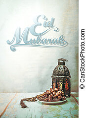eid, mubarak, mit, datieren handfläche, fruechte, oder, kurma, ramadan, lebensmittel, bild, weinlese, stil
