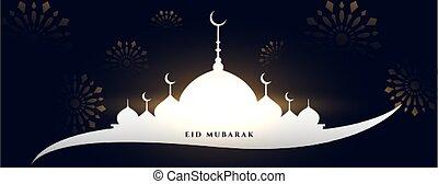 eid mubarak mosque greeting banner design