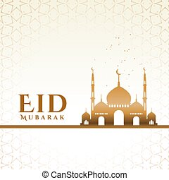 eid mubarak muslim festival greeting with mosque