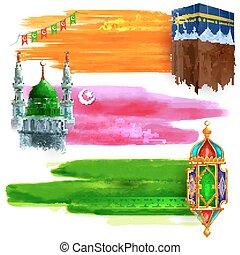 Eid Mubarak sale and promotion offer banner - illustration...