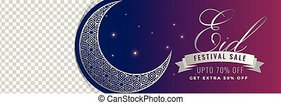 eid mubarak sale banner with crescent moon and space for...