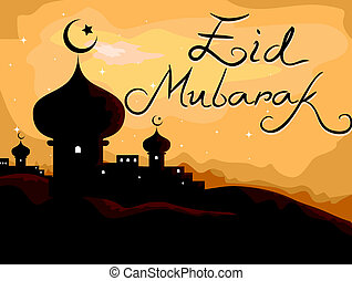 Eid Mubarak - Silhouette of a Mosque with Holiday Greetings...