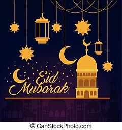 Eid mubarak temple lanterns stars and moon hanging vector design