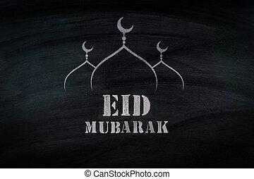eid, mubarak, tradicional, musulmán, saludo, ., en, negro, ancho