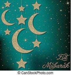 Eid Mubarak! - Eid Mubarak (Blessed Eid) card in vector...