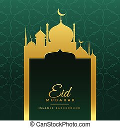 eid mubarak wishes greeting with golden mosque