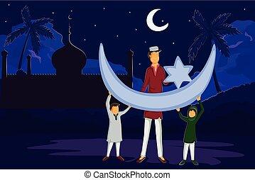 eid, musulmán, luna, familia , mirar