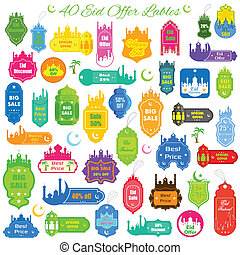 Eid Offer Label - vector illustration of collection of Eid...