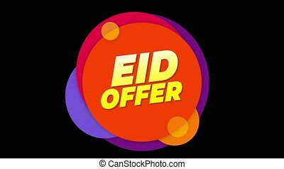 Eid Offer Text Sticker Colorful Sale Popup Animation.