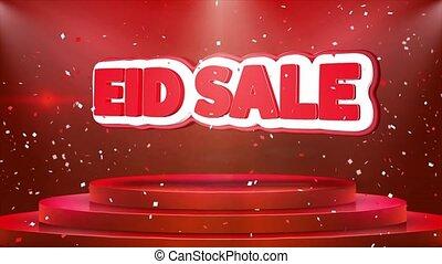 Eid Sale Text Animation Stage Podium Confetti Loop Animation...