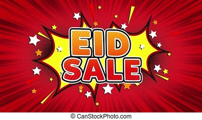 Eid Sale Text Pop Art Style Expression. Retro Comic Bubble Expression Cartoon illustration, Sale, Discounts, Percentages, Deal, Offer on Green Screen