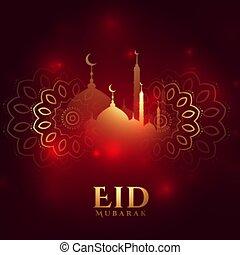 eid, tarjeta de felicitación, deseos, mubarak, hermoso, diseño