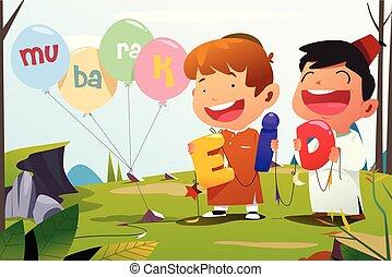 Eid-Ul-Adha Mubarak Celebration - A vector illustration of...