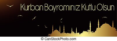 eid-ul-adha mubarak - mosques and sacrifice holiday greeting...