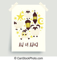 Eid ul Adha, muslim holiday, sheep vector design