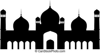 Black silhouette of islamic mosque in Pakistan