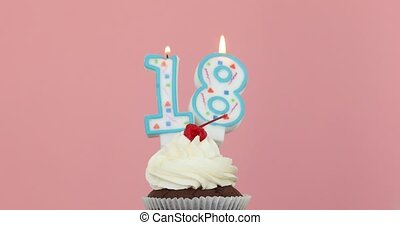 Eieghteen 18 candle in cupcake pink background - Number ...