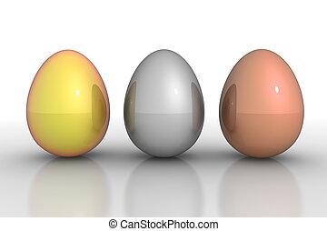 eier, -, drei, gold, linie, metallisch, silber, bronze