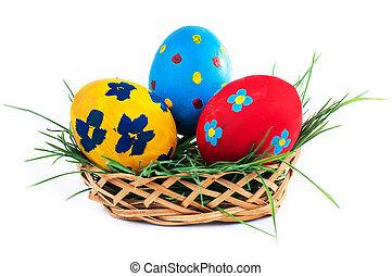 Eier, drei, hintergrund, korb, weißes, Ostern