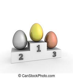 eier, -, gold, podium, sieg, silber, bronze