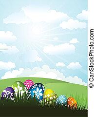 eier, gras, ostern
