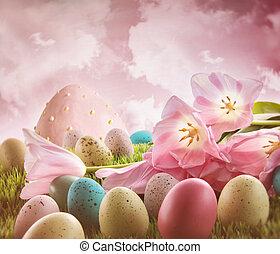 eier, mit, rosa, tulpen, in, der, gras