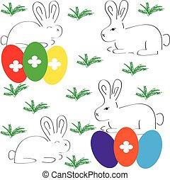 eier, ostern, weißer hintergrund, kaninchen