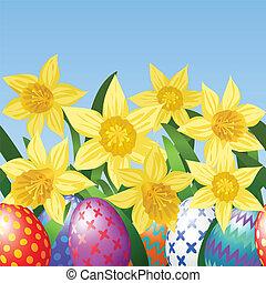eier, ostern, wiese