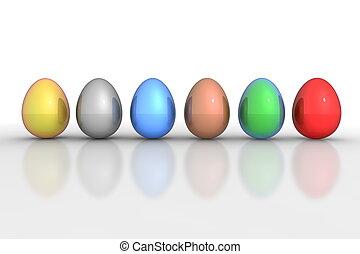 eier, sechs, -, metallisch, mischling, linie, bunter