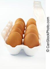 eier, weißes, zehn, paket