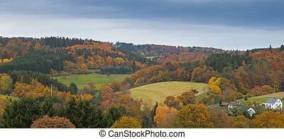 Eifel Landscape, Germany - Valley with farmland, isolated...