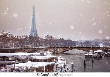 Eifel tower and bridge de l'Alma under snow, Paris