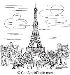 eifel tower - hand drawn illustration of eifel tower, Paris...