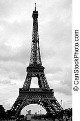 eiffel emelkedik, alatt, párizs, franciaország