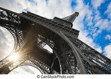 eiffel emelkedik, alatt, párizs, széles szögletes, lövés