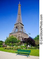 eiffel emelkedik, nyár, liget, alatt, párizs, franciaország
