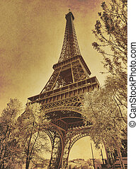 eiffel, foto, oud, parijs, textured brengen teweeg, toren, ...