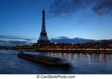 eiffel, húzóháló, párizs, franciaország, hajnalodik, bástya, folyó